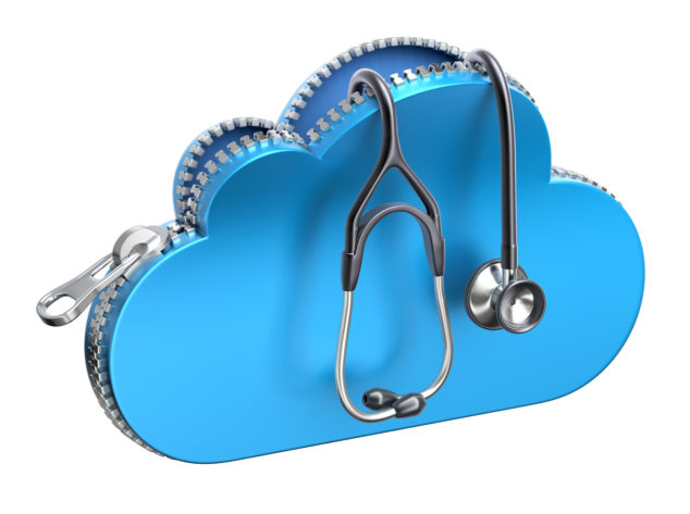 Stethoscope in unzipped 3d cloud icon isolated on white background