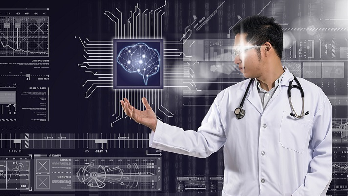 AI and technology physician concept, Asian Doctor with the stethoscope equipment hand holding the Artificial intelligence of brain technology over Innovation digital screen background